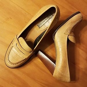 Croc Embossed Penny Loafer Style Pumps